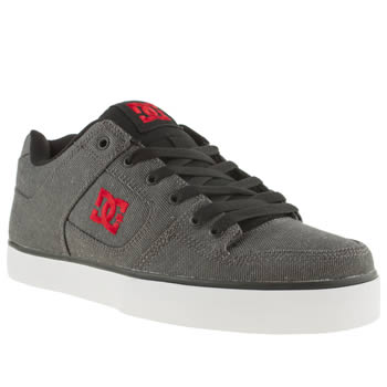 mens dc shoes black & red pure tx se trainers