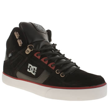 Mens Dc Shoes Black & Red Spartan High Wc Wr Trainers