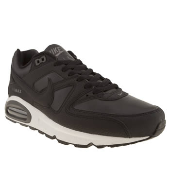 mens nike black & white air max command trainers