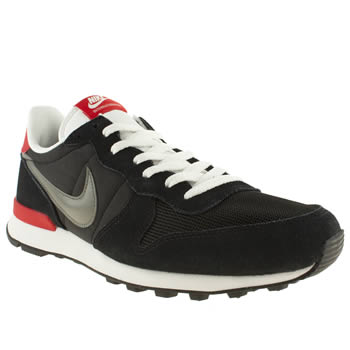 mens nike black & red internationalist trainers