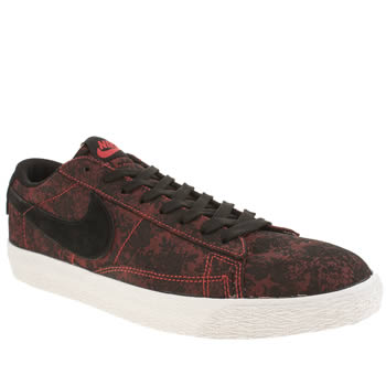 Mens Nike Black & Red Blazer Low Trainers