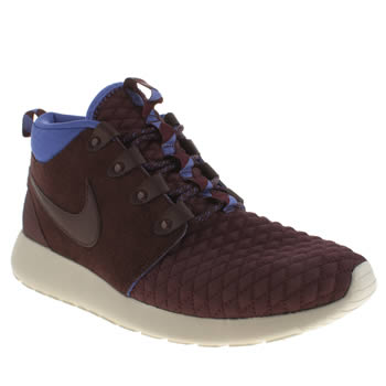 Mens Nike Burgundy Roshe Run Sneakerboot Trainers