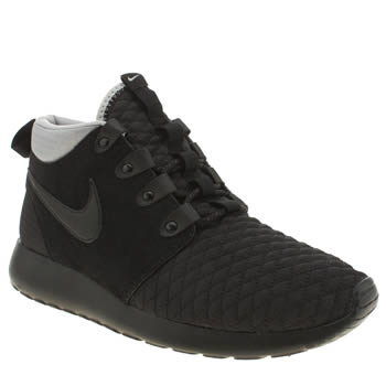 Mens Nike Black Roshe Run Sneakerboot Trainers