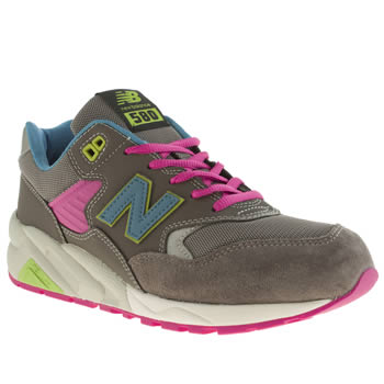 Mens New Balance Grey & Lime 580 Trainers
