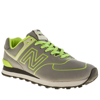 mens new balance grey & lime 574 trainers