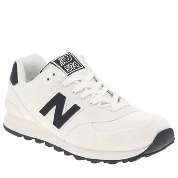 Mens New Balance White & Navy 574 Trainers