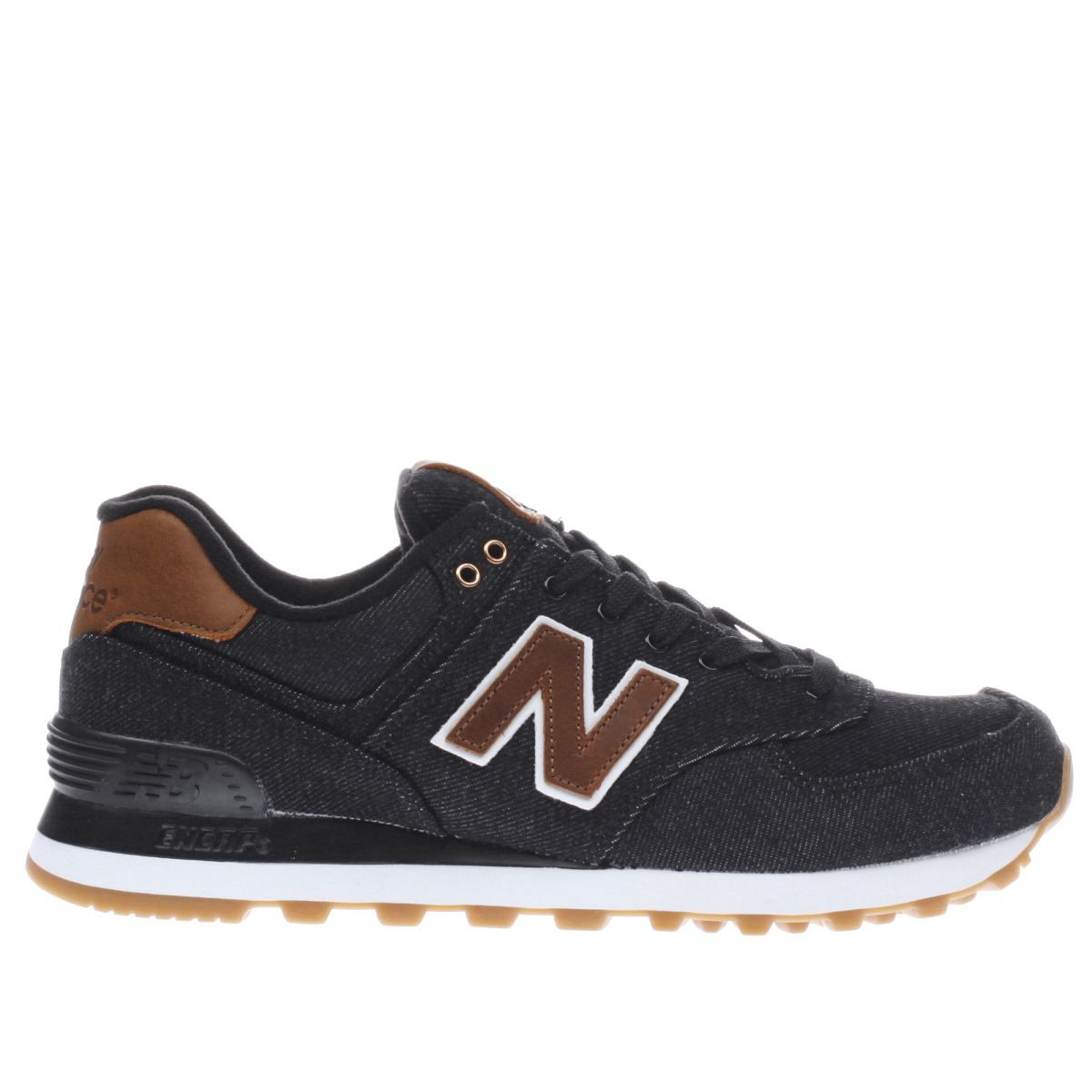 new balance black & brown 574 trainers
