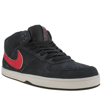 mens nike skateboarding navy & red mavrik mid 3 trainers