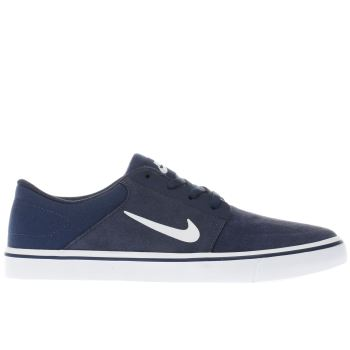 Mens Nike Sb Navy & White Portmore Trainers