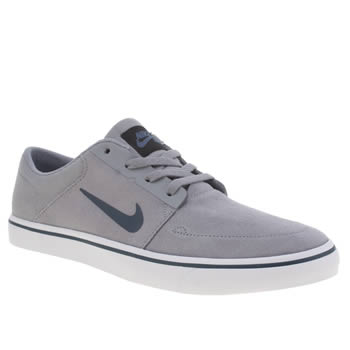 Mens Nike Sb Light Grey Portmore Trainers