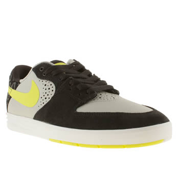 mens nike skateboarding black & grey paul rodriguez 7 trainers