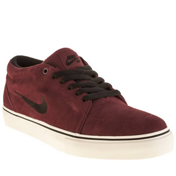 Mens Nike Skateboarding Burgundy Satire Mid Trainers