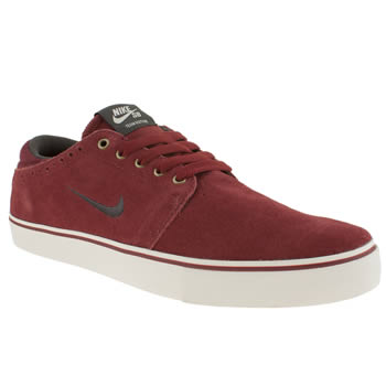 mens nike skateboarding burgundy team edition trainers
