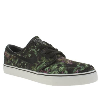 Mens Nike Skateboarding Black & Green Zoom Stefan Janoski Trainers