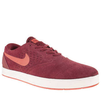mens nike skateboarding burgundy eric koston 2 trainers