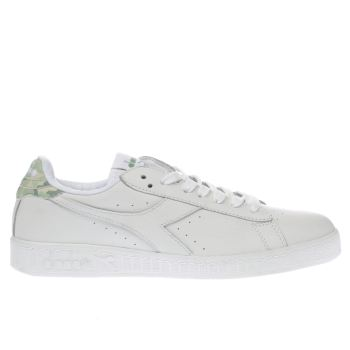 Diadora White & Green Game L Low Camo Trainers