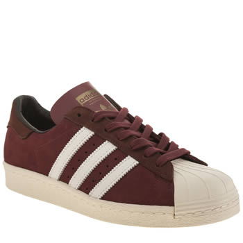 Mens Adidas Burgundy Superstar 80 Trainers