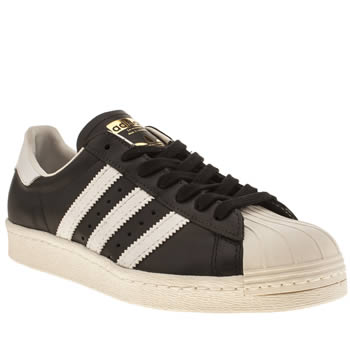 Mens Adidas Black & White Superstar 80 Trainers