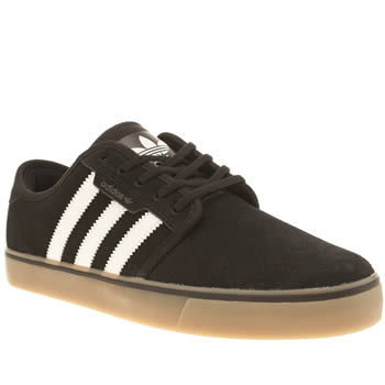 Mens Adidas Black & White Seeley Trainers