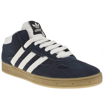 mens adidas navy & white ciero mid trainers