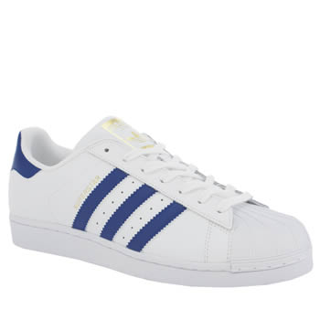 Mens Adidas White & Blue Superstar Foundation Trainers