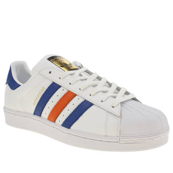 Mens Adidas White & Navy Superstar East River Rival Trainers