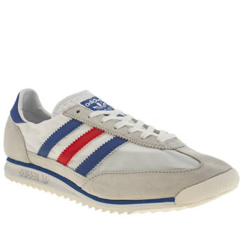 Mens Adidas White & Blue Sl 72 Trainers