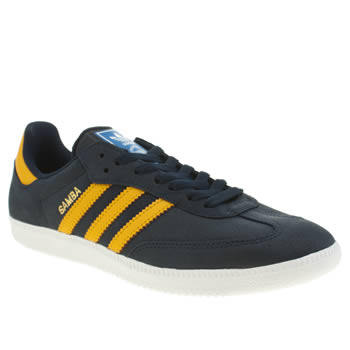 Mens Adidas Navy & Gold Samba Trainers