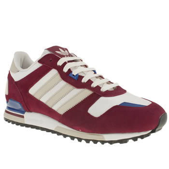 mens adidas white & burgundy zx 700 trainers