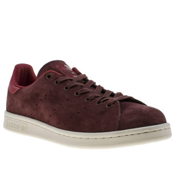 Mens Adidas Burgundy Stan Smith Trainers