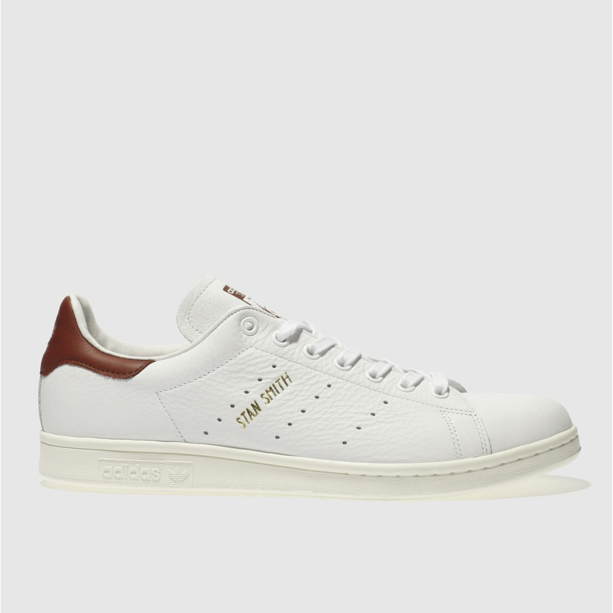adidas white & burgundy stan smith trainers
