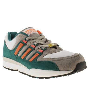 Mens Adidas White & Green Torsion Integral Trainers