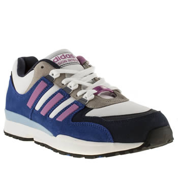 Mens Adidas White & Purple Torsion Integral Trainers