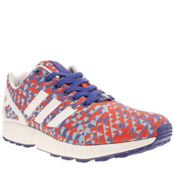 Mens Adidas Pl Blue & Red Zx Flux Weave Trainers