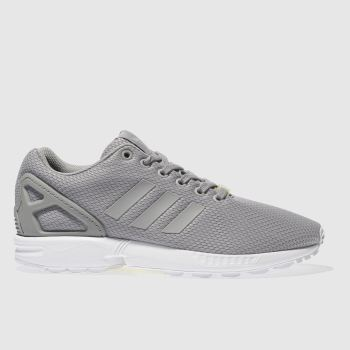 Mens Adidas Light Grey Zx Flux Weave Trainers