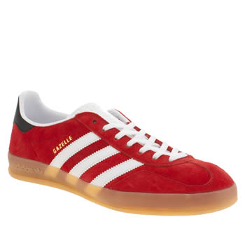 Mens Adidas White & Red Gazelle Indoor Trainers