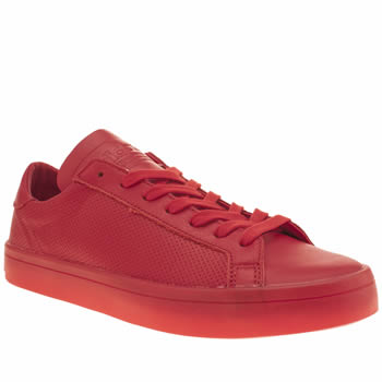Mens Adidas Red Adicolor Court Vantage Icy Trainers