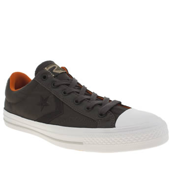 Mens Converse Grey & Black Star Player Ox Nylon Trainers