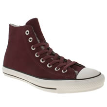 Burgundy Converse All Star Suede Shearling Hi