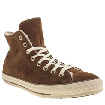 Mens Converse Tan All Star Hi Shearling Suede Trainers