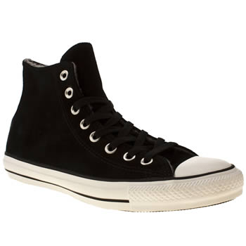 mens converse black & white all star suede shearling hi trainers
