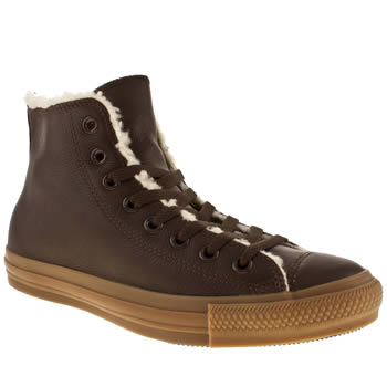 mens converse dark brown leather shearling trainers