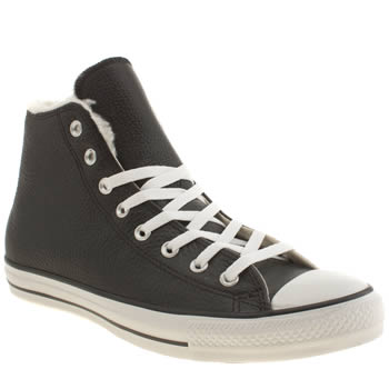 Converse Black All Star Shearling Hi Trainers