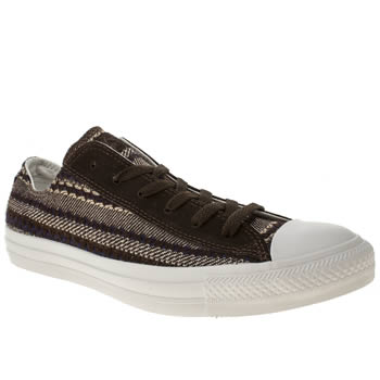 mens converse dark brown cons all star blanket ox trainers
