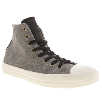 Mens Converse Light Grey All Star Material Mix Hi Trainers