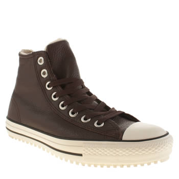 Converse Brown All Star Shearling Hi Leather Trainers