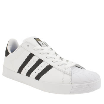 Adidas White & Black Superstar Vulc Trainers