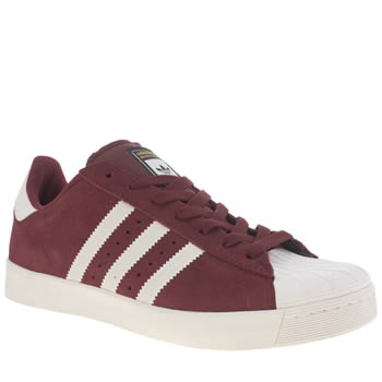 Mens Adidas Burgundy Superstar Vulc Trainers