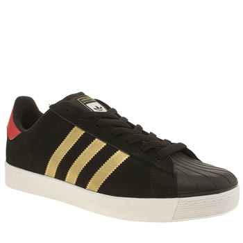 Adidas Black & Gold Superstar Vulc Trainers