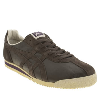 Mens Onitsuka Tiger Dark Brown Corsair Vintage Trainers